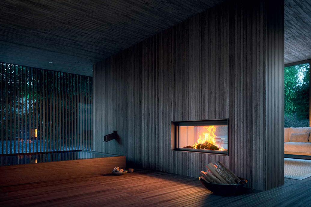 Plasma 115b wood camino a legna mcz for Piani camino esterno
