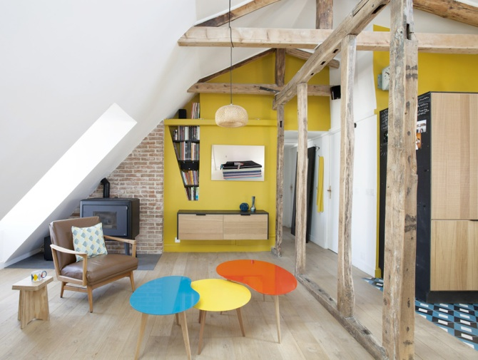 Pellet stove in an attic by MCZ