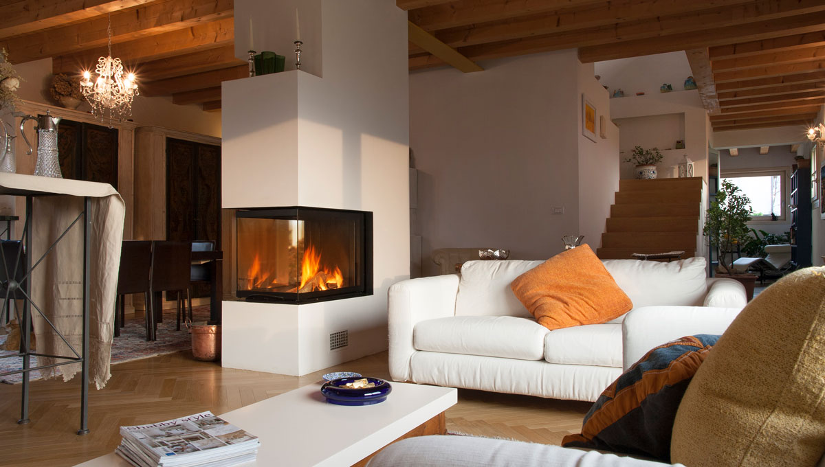 Wood fireplace in shabby style by MCZ